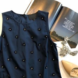 J. Crew Collection Embellished Poplin Shell